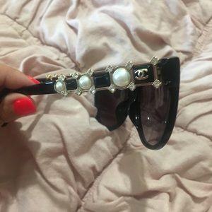 { Chanel } Bijou Pearl Cat Eye Sunglasses